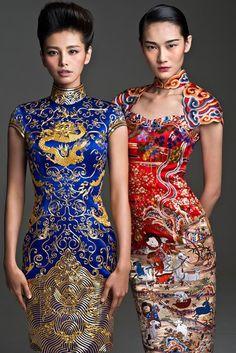Display of traditional Chinese dress Qipao Beauty And Fashion, Look Fashion, Fashion Design, Fashion Outfits, Asian Style, Chinese Style, Traditional Chinese, Chinese Art, Ao Dai