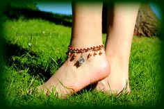 #brown #macrame #anklet #with #tibetiansilver #charms #and #copper #beads <3