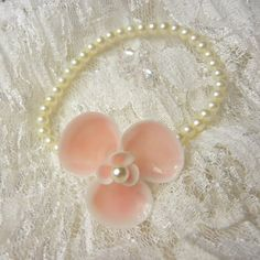 Pink Seaflower Seashell Wrist Corsage Bracelet  by ShellScapes