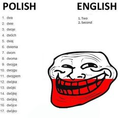 "How to say ""two"" and ""second"" in Polish? Polish - the most difficult language to learn. Wtf Funny, Funny Texts, Funny Jokes, Funny Images, Funny Photos, Learn Polish, Polish Memes, Polish Language, History Memes"