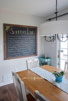 large chalkboard in kitchen, diy chalkboard, chalkboard art, summer bucket list, chalkboard summer bucket list, summer chalkboard art,