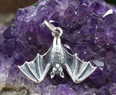 Bat Charm, Hanging Bat Charm, Vampire Charm, Halloween Charm, Sterling Silver Charm