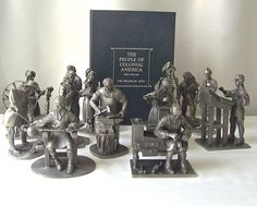 The People Of Colonial America Pewter Sculpture Figurines