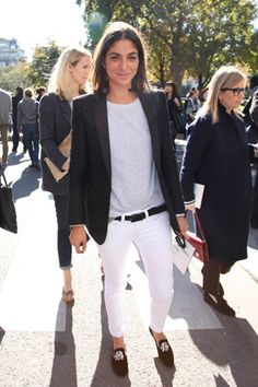 French Voguettes, white low rise pants, black belt, burgundy shoes, jacket, simple tee