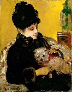 American Art Mary Cassatt Visitor in Hat and Coat Holding a Maltese Dog, ca. Renoir, Edgar Degas, Mary Cassatt Art, Georges Seurat, Maltese Dogs, Impressionist Art, Famous Artists, Animal Paintings, Dog Art