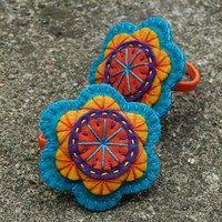felt mandalas possible window art with beads in between