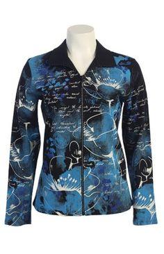 Jess N Jane Blue Sketch Dressy Ladies Rhinestone Zipper Jacketsmall ** Learn more by visiting the image link.