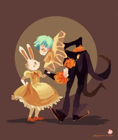 Happy Birthday to Eva! (her rabbit and clown prince) I hope I did not butcher your characters too much..!