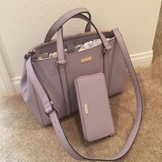 Kate Spade Newbury Lane Large Loden Lilac Bliss Color WKRU 2461 for sale online Designer Leather Handbags, Luxury Handbags, Fashion Handbags, Leather Purses, Fashion Bags, Luxury Purses, Stylish Handbags, Fashion Jewelry, Men Accessories