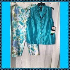 Matching 2 piece Capri pants set Brand new with tags. Washable 2 piece Capri pants set. Pants button on the side. Sleeveless shirt buttons up. Would be adorable for spring! Excellent condition Other
