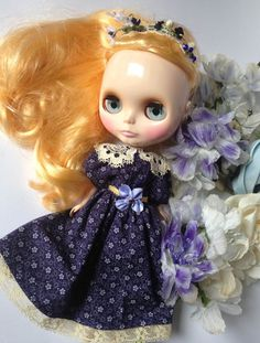 blythe dress headbad '' Field flowers'' by jolidolly on Etsy, $29.00