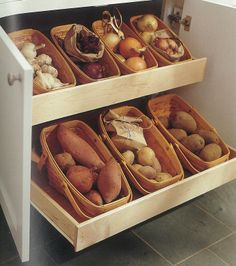 Store potatoes in baskets and create a well-stocked pantry