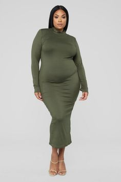 eba5cae96920 Plus Size Full Coverage Maxi Dress - Olive $24.99 #fashion #ootd #outfits #