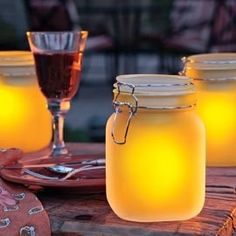 Mason jars are everyyywhere right now.      Find a glass jar, paint the inside with Elmer glue tinted the color you want and then go to the DOLLAR TREE and buy a solar light.      Wala!  Outdoor lights for nearly nothing!