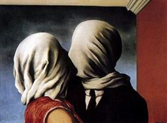 Les Amants - Magritte.  The Encyclopedia of Artists says that Rene's mother commited suicide  when he was a teen.  When they removed her body from a river her head was shrouded by her nightgown.  It is speculated that the devastation he carried with him resulted in this painting.