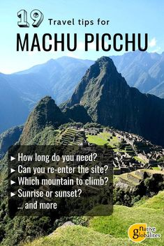 Machu Picchu top and updated travel tips. When to visit? Can you bring food? Where to buy your tickets? Do you need a guide to get in? Find the answers to these and many other FAQs in our detailed and up-to-date list of travel tips for Machu Picchu! Travel Chile, Peru Travel, Dc Travel, Disney Travel, Cruise Travel, Italy Travel, Adventure Travel, Ecuador, South America Destinations