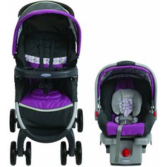 Easily travel with baby in and out of the car with the Graco FastAction Fold Click Connect Travel System. Features the versatile FastAction Fold Click Connect Stroller and the popular SnugRide Click Connect 30 Infant Car Seat with stay-in-car base. Car Seat And Stroller, Jogging Stroller, Baby Car Seats, Double Strollers, Baby Strollers, Gadget, Twin Pram, Best Prams, Best Lightweight Stroller