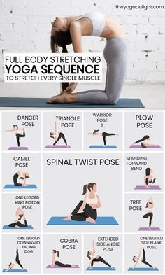 Give your body a good stretch with this stretching yoga routine. Try these 13 yoga stretches and poses if you want to loosen your tight muscles and get rid of aches and pains in your body. This yoga sequence is perfect for yoga beginners, so give you Yoga Stretching, Yoga Bewegungen, Yoga Handstand, Good Stretches, Full Body Stretching Routine, Daily Yoga Routine, Full Body Yoga Workout, Morning Workout Routine, Stretch Routine