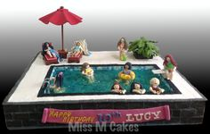 """Swimming Pool Cake - 20' x 30"""" Chocolate Mud Cake. Gum Paste and fondant accents."""