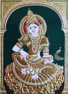Annapurna Tanjore Painting for Sale Painting is an exquisite traditional art form and has a very rich heritage. This classical painting style of South India originated from the town of Thanjavur (anglicised as Tanjore). This art form flourished way back about 1600AD by the Nayakas of Thanjavur under the reign of Vijayanagar Rayas. See more at http://www.madhurya.com/tanjore-paintings/annapurna.html #tanjorepaintingsonline #tanjorepaintings #annapurnapainting