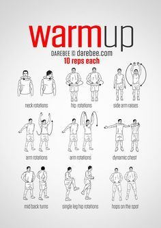 Workout warm up - PreWorkout WarmUp (always warmup before your workout and then stretch after) Fitness Workouts, Gym Workout Tips, Workout Warm Up, Workout Challenge, Yoga Fitness, At Home Workouts, Health Fitness, Gym Warm Up, Warm Ups Before Workout