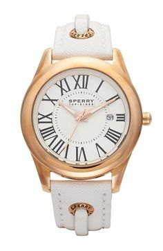 Women's Sperry Top-Sider 'Lynnbrook' Laced Leather Strap Watch, 40Mm White/ Rose Gold One Size