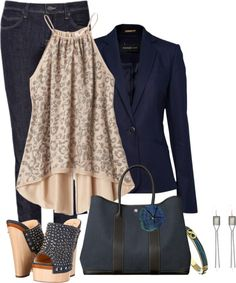 A fashion look from December 2012 featuring navy blazer, Rebecca Taylor and leather shoes. Browse and shop related looks. Classy Outfits, Stylish Outfits, Cool Outfits, Summer Outfits, Look Fashion, Autumn Fashion, Fashion Outfits, Womens Fashion, Casual Chic