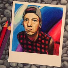 Josh w/ Cool Colors  Print of Polaroid Drawing by thisismyshopbye