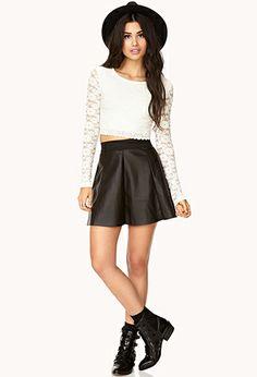 Edgy Faux Leather Skater Skirt | FOREVER 21 - 2000093145
