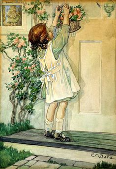 CLARA M. BURD (1873–1933) - GIRL PLACING MAY BASKET ON DOOR