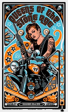 Queens of the Stone Age - Chris Hopewell - 2013 ---- Biker themed Tattoo Inspiratitions. Old school vintage styled biker tattoos Rock Posters, Band Posters, Music Posters, Stoner Rock, Art Pop, Art Rupestre, We Will Rock You, Stone Age, Cultura Pop