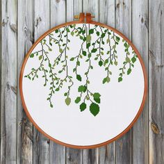 Green Vines, modern nature cross stitch pattern, spring wall decor, natural…