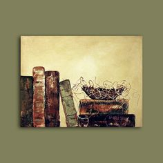 Bird Nest in library books Abstract by ContemporaryEarthArt