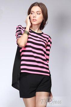 #Striped #Blouses #Debonair Debonair Round Neckline Short Sleeves Striped T-shirt