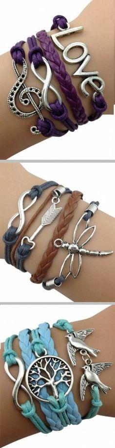 Leather Wrap Bracelets ♥ L.O.V.E.