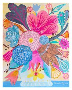 prim flower paintings | Flowers N.1 Original art painting flowers bohemian by BohoGarden