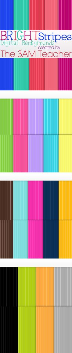 This set includes 38 BRIGHT striped digital backgrounds by The 3AM Teacher $3.50