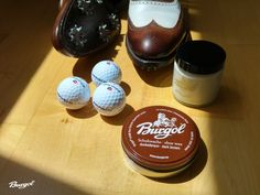 Ready for the golf course - with Burgol Shoe Polishing Wax, Pomade Cream and a fine pair of golfshoes by ECCO...