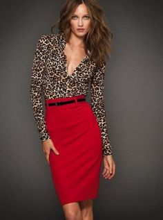 High waisted red skirt, with a fashionable sexy leopard blouse