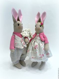 Купить Зайки Тильда. - серый, фуксия, пара зайцев, тильды, зайцы тильда