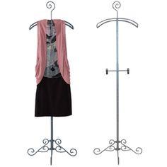 "Boutique hanger stand-Display hanger stand with clips. Adjustable 48"" x 68"" H, 19"" hanger, 24"" diameter base."