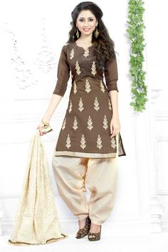 #Andaazfashion presents Coffee Cotton Patiala Suit With Embroidered Dupatta http://www.andaazfashion.fr/salwar-kameez/patiala-suits/coffee-cotton-patiala-suit-with-embroidered-dupatta-dmv13765.html