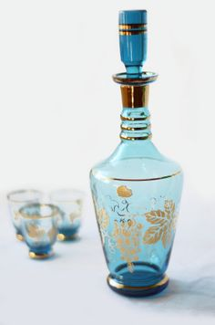 Vintage Bohemian Blue and Gold Decanter and Shot Glasses