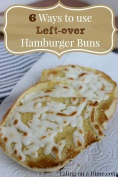 Don't you hate it when you only have one or two Hamburger buns leftover after a party or a grilling night? Don't throw those away! Those babies are perfect for other meals :) Take a minute to read these easy ways to use those leftover hamburger buns. Recipes Using Hamburger, Hamburger Bun Recipe, Hamburger Buns, Frugal Meals, Easy Meals, Leftovers Recipes, Leftover Bread Recipes, Leftover Ham, Food Hacks