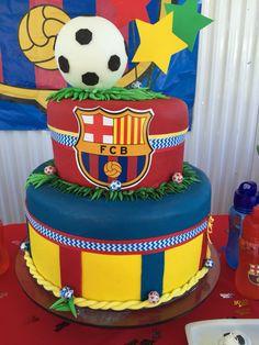 Barça cake! Soccer Birthday Parties, Soccer Party, 13th Birthday, Birthday Party Decorations, Party Themes, Birthday Cake, Barcelona Party, Fc Barcelona, Dallas Cowboys Cake