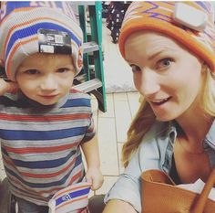 Heather Morris and son Elijah! So cute! (Mom and babe in hats)