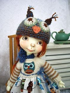 Owls, Knit-top Dress for Connie Lowe Sprocket, Sprockets, made by Ulla
