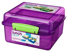 Square, stackable Lunch Cube Max from Sistema specially shaped to fit sandwiches perfectly! - Great for use as a lunch box or for picnics This Lunch Containers, Food Storage Containers, Lunch Boxes, Box Cake, Tea Towels, Cube, Decorative Boxes, Design