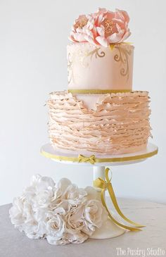 Gorgeous Two Ruffle Wedding Cake, Floral Top