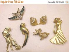 Mixed Lot of Vintage Figural Brooches by ViksVintageJewelry